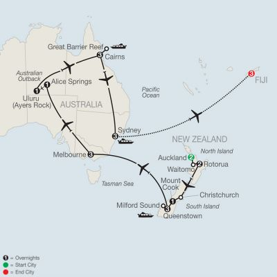 Map for Down Under Discovery with Fiji 2019 - 23 days from Auckland to Nadi