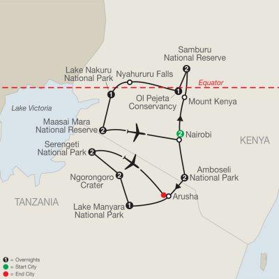 Map for Kenya & Tanzania: The Safari Experience with Nairobi 2019 - 16 days from Nairobi to Arusha