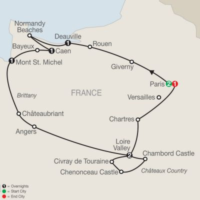 Map for Normandy, Brittany & Châteaux Country 2019 - 9 days from Paris to Paris