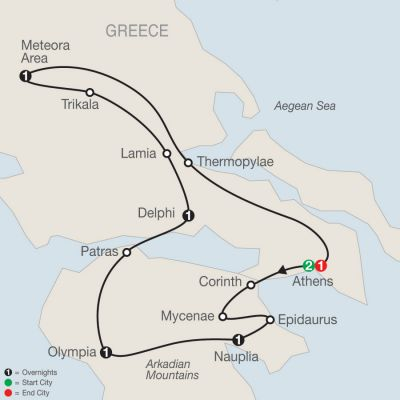 Map for Classical Greece 2019 - 8 days from Athens to Athens