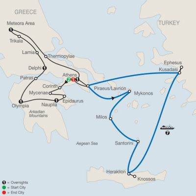Map for Classical Greece with Idyllic Aegean 7-Night Cruise 2019 - 16 days from Athens to Athens
