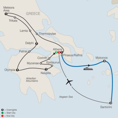Map for Classical Greece Plus Island Hopper 2019 - 15 days from Athens to Athens