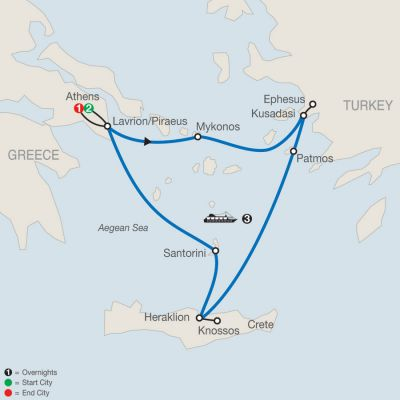 Map for Iconic Aegean with 3-Night Cruise 2019 - 7 days from Athens to Athens