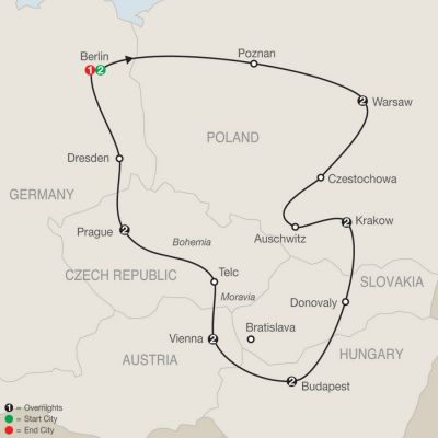 Map for The Best of Eastern Europe 2019 - 14 days from Berlin to Berlin