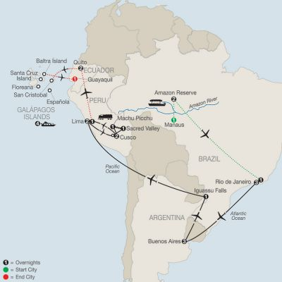 Map for Spirit of South America with Amazon & Galápagos Cruise 2019 - 26 days from Manaus to Guayaquil