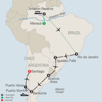 Map for South American Odyssey with Amazon 2019 - 20 days from Manaus to Santiago