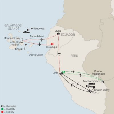 Map for Peru Splendors with Peru's Amazon & Galápagos Cruise 2019 - 17 days from Lima to Guayaquil
