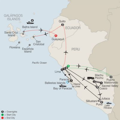 Map for Legacy of the Incas with Peru's Amazon & Galápagos Cruise 2019 - 23 days from Lima to Guayaquil