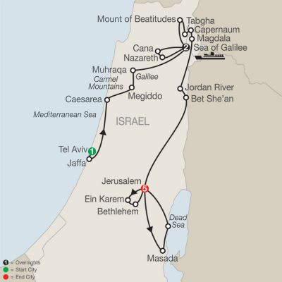 Map for Journey Through the Holy Land - Faith-Based Travel 2019 - 9 days from Tel Aviv to Jerusalem