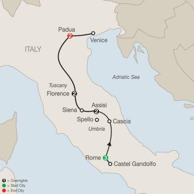 Map for Grand Catholic Italy – Faith-Based Travel 2019 - 10 days from Rome to Padua