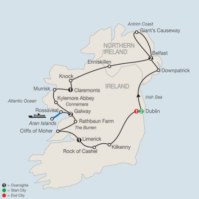 Map for Legacy of St. Patrick – Faith-Based Travel 2019 - 10 days from Dublin to Dublin