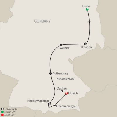 Map for German Vista 2019 - 8 days from Berlin to Munich