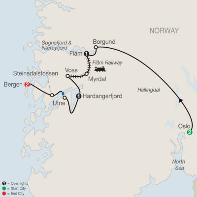 Map for Best of Norway 2019 - 7 days from Oslo to Bergen