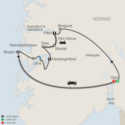 Map for Best of Norway with Oslo 2019 - 8 days from Oslo to Oslo