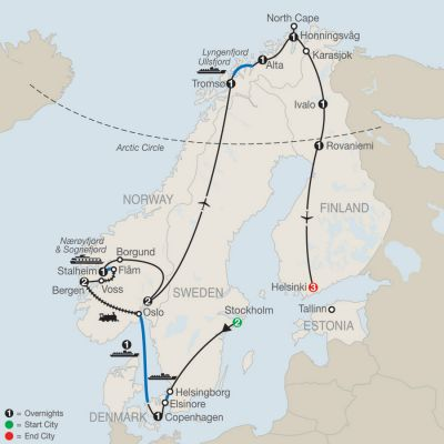 Map for The Grand Scandinavian Circle Tour 2019 - 18 days from Stockholm to Helsinki