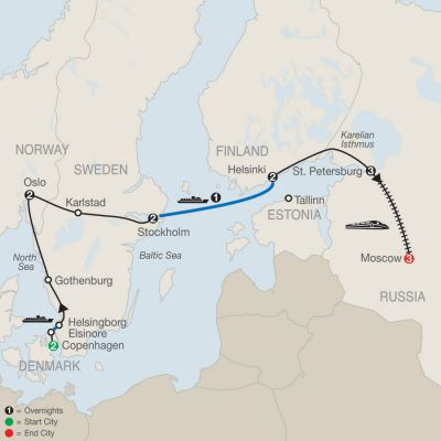 Map for Northern Capitals with St. Petersburg & Moscow 2019 - 16 days from Copenhagen to Moscow