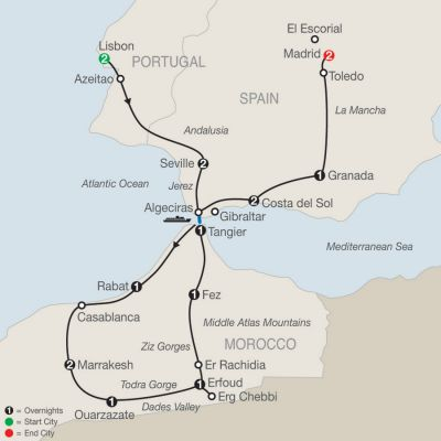 Map for Spain, Portugal & Morocco 2019 - 17 days from Lisbon to Madrid