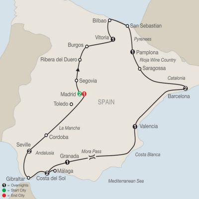 Map for Spanish Fiesta 2019 - 14 days from Madrid to Madrid
