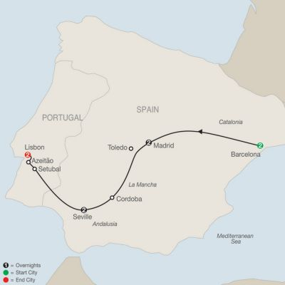 Map for Highlights of Spain and Portugal 2019 - 9 days from Barcelona to Lisbon