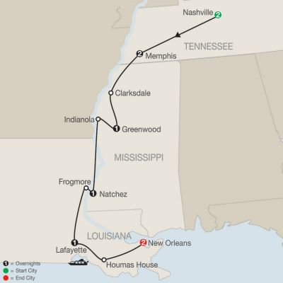 Map for America's Musical Heritage 2020 - 10 Day Tour from Nashville to New Orleans