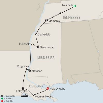 Map for America's Musical Heritage with Extended Stay in New Orleans 2020 - 12 Day Tour from Nashville to New Orleans