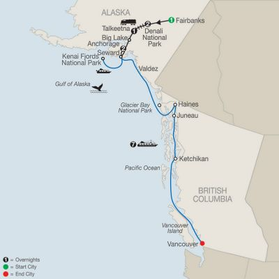 Map for Nature's Best: Alaska with Alaska Cruise 2020 - 13 days from Fairbanks to Vancouver