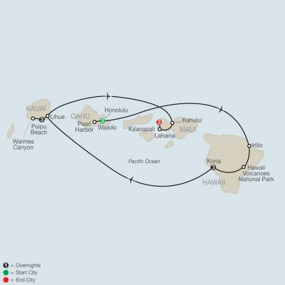 Map for Grand Hawaii Vacation 2020 - 13 days from Honolulu to Maui