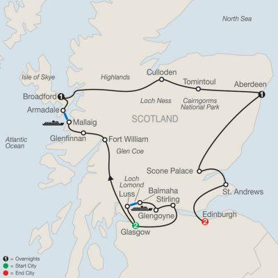 Map for Bonnie Scotland 2020 - 7 days from Glasgow to Edinburgh