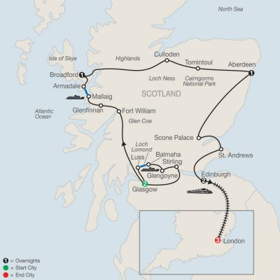 Map for Bonnie Scotland with London 2020 - 10 days from Glasgow to London