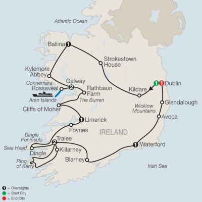 Map for Emerald Isle 2020 - 10 days from Dublin to Dublin