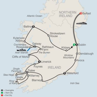 Map for Emerald Isle with Belfast 2020 - 13 days from Dublin to Belfast