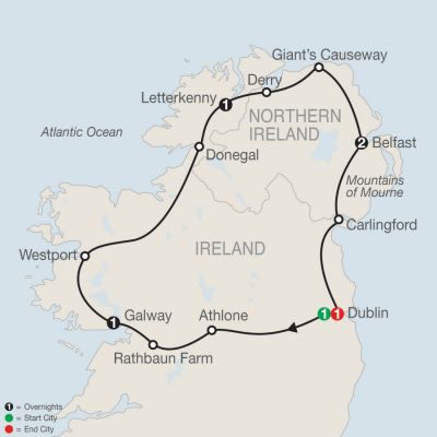 Map for North of Ireland Escape 2020 - 7 days from Dublin to Dublin