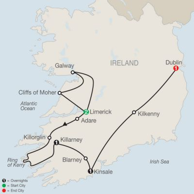 Map for South of Ireland Escape 2020 - 6 days from Limerick to Dublin