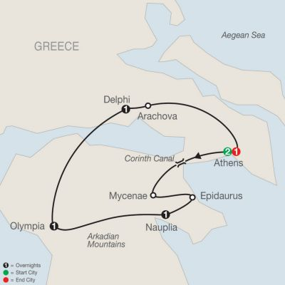 Map for Greek Escape 2020 - 7 days from Athens to Athens