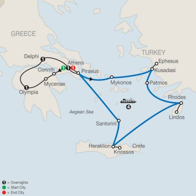Map for Highlights of Greece Escape with 4-night Iconic Aegean Cruise 2020 - 10 days from Athens to Athens