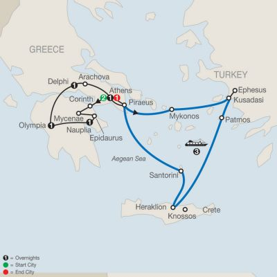 Map for Greek Escape with 3-Night Iconic Aegean Cruise 2020 - 11 days from Athens to Athens