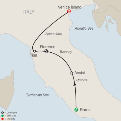 Map for Italian Escape 2020 - 7 days from Rome to Venice