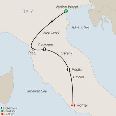 Map for Bella Italia Escape 2020 - 7 days from Venice to Rome