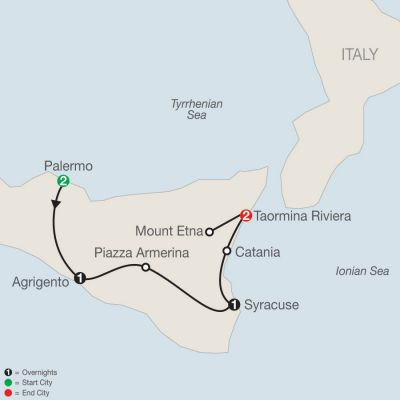Map for Sicilian Escape 2020 - 7 days from Palermo to Taormina Riviera