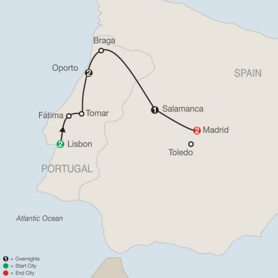 Map for Lisbon to Madrid Escape 2020 - 8 days from Lisbon to Madrid