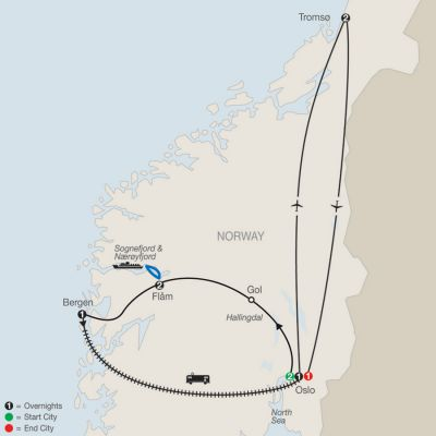 Map for Norwegian Fjords Escape with Northern Lights 2020 - 10 days from Oslo to Oslo