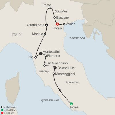 Map for Italian Sampler 2020 - 9 days from Rome to Padua