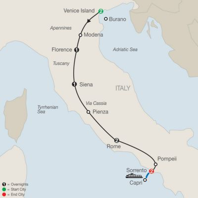 Map for Italian Tapestry 2020 - 9 days from Venice to Sorrento