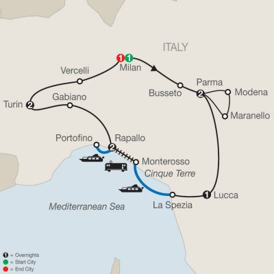 Map for Northern Italy's Highlights & Cinque Terre 2020 - 10 days from Milan to Milan