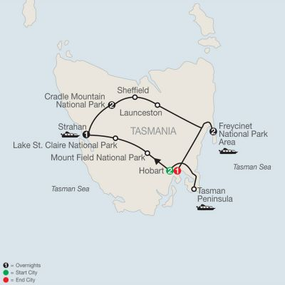 Map for Wild Tasmania 2020 - 9 days from Hobart to Hobart