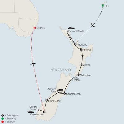 Map for Best of New Zealand  with Fiji & Sydney 2020 - 20 days from Nadi to Sydney