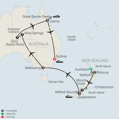 Map for Down Under Discovery 2020 - 20 days from Auckland to Sydney