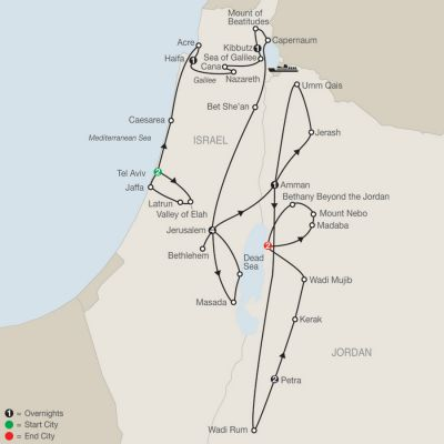 Map for Israel & Wonders of Jordan 2020 - 14 days from Tel Aviv to Dead Sea
