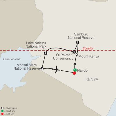 Map for Kenya: A Classic Safari 2020 - 9 days from Nairobi to Nairobi