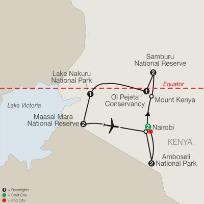 Map for Kenya: A Classic Safari with Nairobi & Amboseli 2021 - 12 days from Nairobi to Nairobi